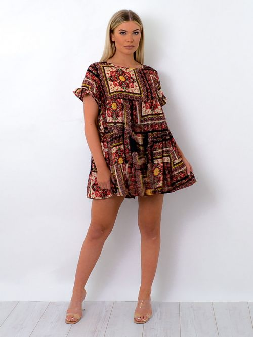 Jordan Floral Box Print Frill Detail Tiered Smock Dress In Wine
