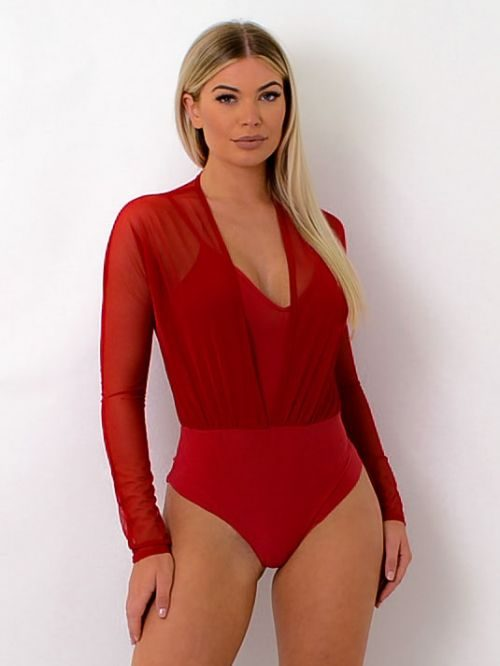 Maeva Plunge Neck Lined Mesh Bodysuit In Red