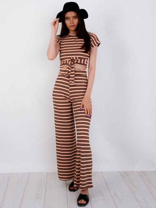 Zaniyah Striped Ribbed Crop Top & Trouser Co-ord In Orange