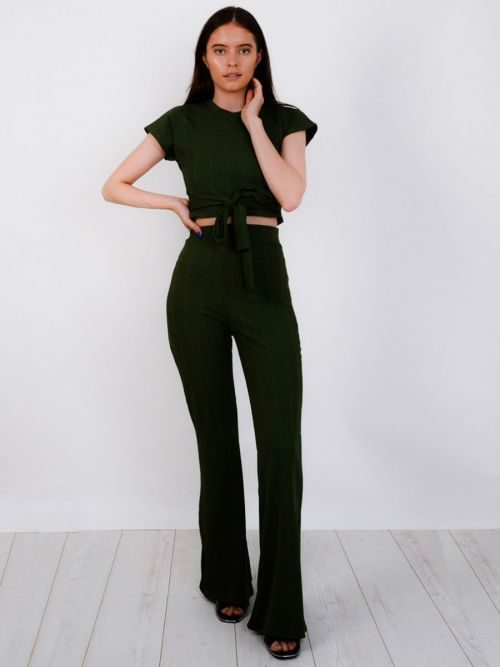 Isadora Ribbed Tie Knot Crop Top & Trouser Co-ord In Khaki