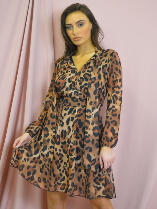 Forde Leopard Neck Tie Smock Dress In Brown