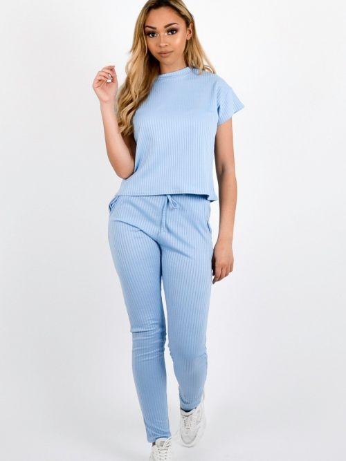 Luisa Ribbed Short Sleeve Boxy Loungewear Co-ord In Blue