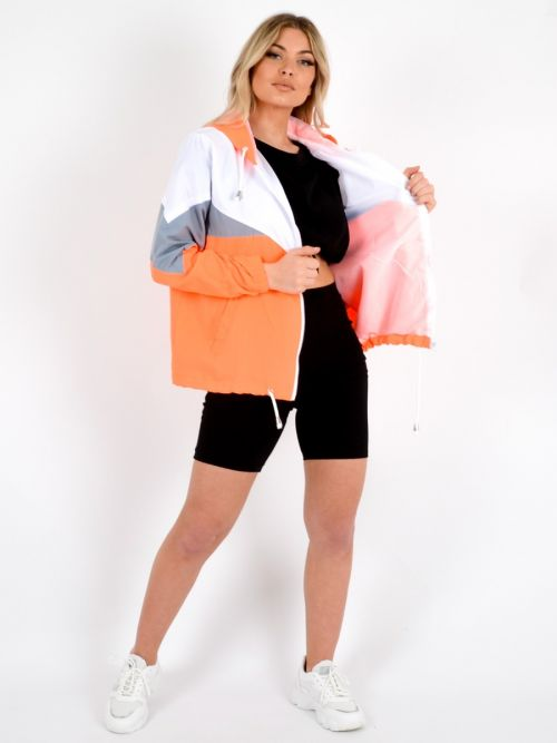 Leilani Colour Block Festival Jacket In Neon Orange
