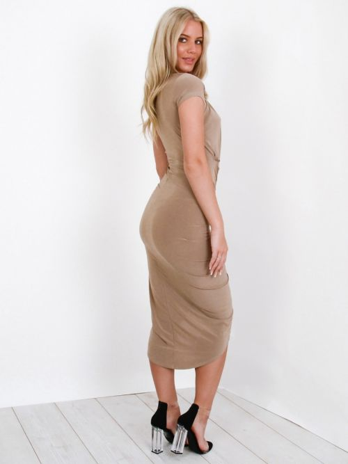Jazmin Slinky Ruched Midi Dress In Stone