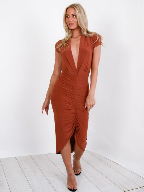 Jazmin Slinky Ruched Midi Dress In Rust