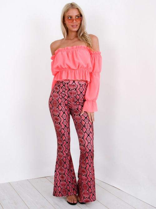 Ariel Snake Print Wide Leg Trousers In Pink