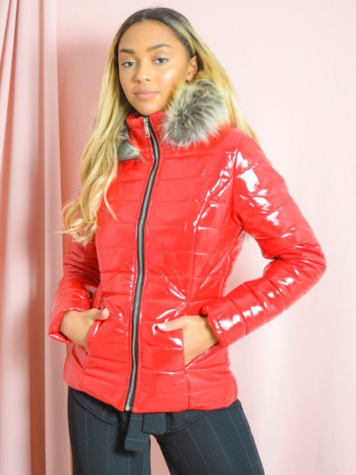 Siena Wet Look Faux Fur Hooded Jacket In Red