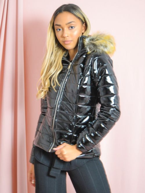 Siena Wet Look Faux Fur Hooded Jacket In Black