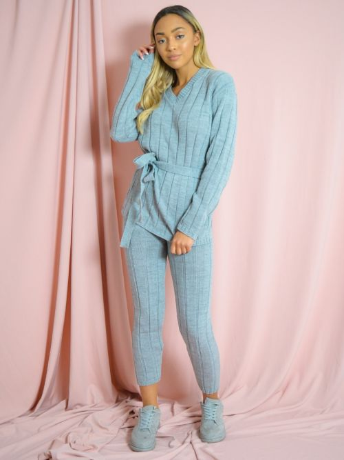 Sammie Ribbed Knitted Belted Loungewear Set In Grey