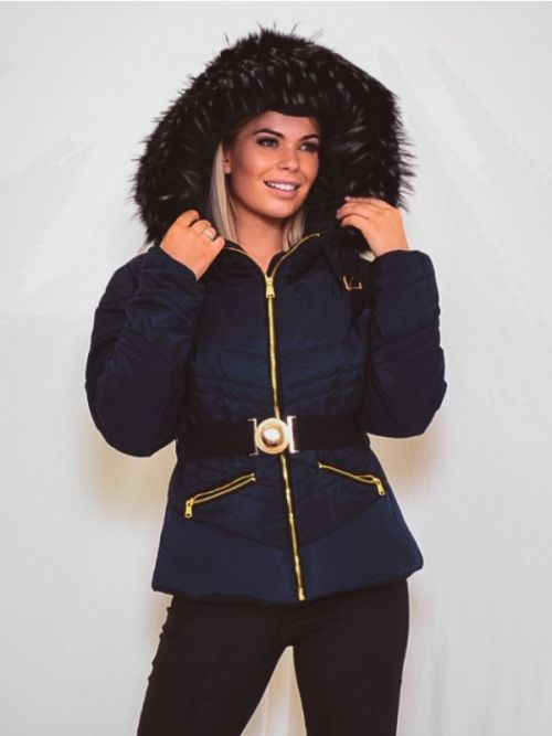Electra Padded Jacket With Detachable Buckle Belt In Navy
