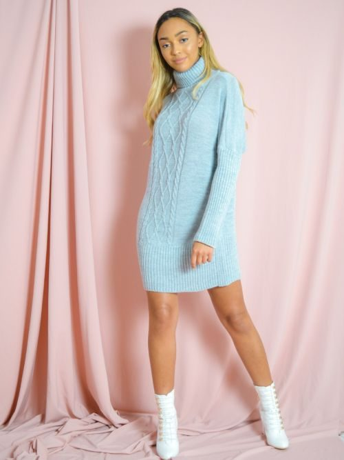 Nia Cable Knit Panel Jumper Dress In Grey