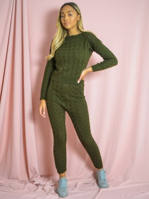 Jaida Cable Knit Top & Bottom Co-ord In Khaki