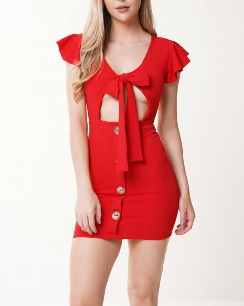 Alyssa Button Detail Knot Front Dress In Red