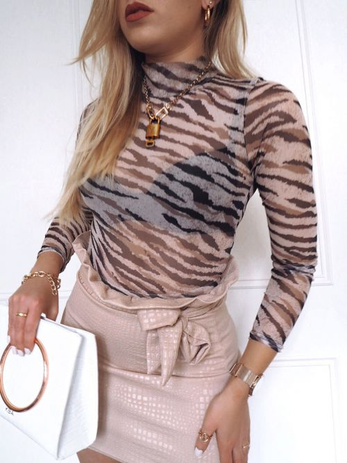 Tallie Animal Print Mesh Bodysuit In Stone