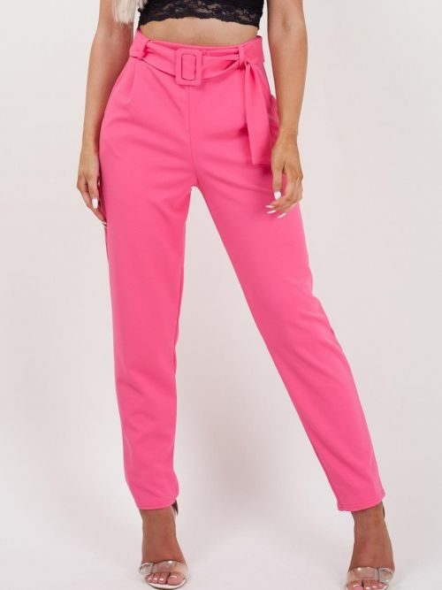 Deanna Belted Trousers In Fuchsia
