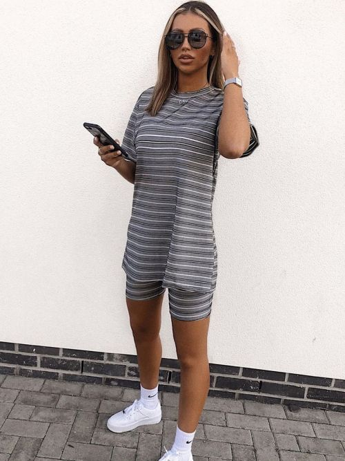 Josie Oversized Ribbed T-Shirt & Shorts Co-ord In Grey