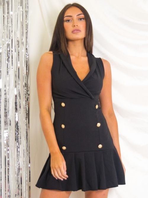 Grisell Pleated Hem Tuxedo Style Dress In Black