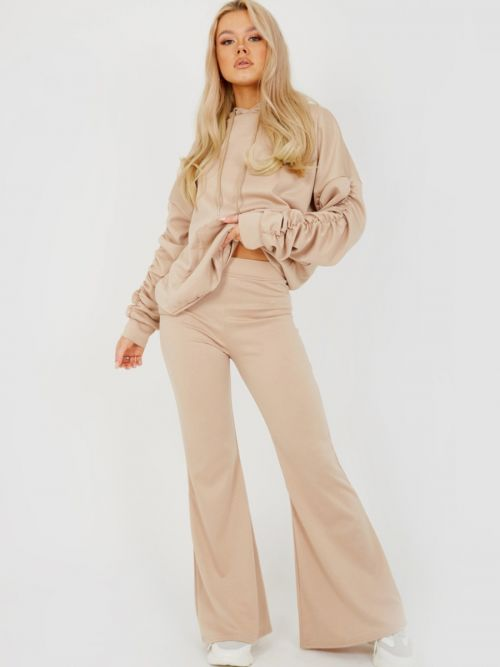 Susan Ruched Sleeve Hoodie & Flared Trouser Co-ord In Stone