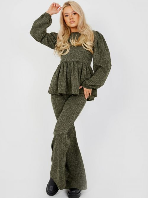 Sian Melange Knit Peplum Top & Trouser Co-ord In Khaki