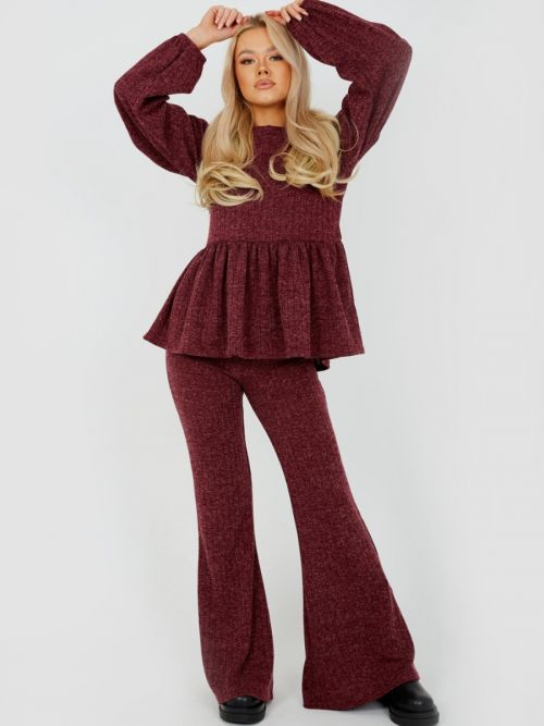 Sian Melange Knit Peplum Top & Trouser Co-ord In Wine