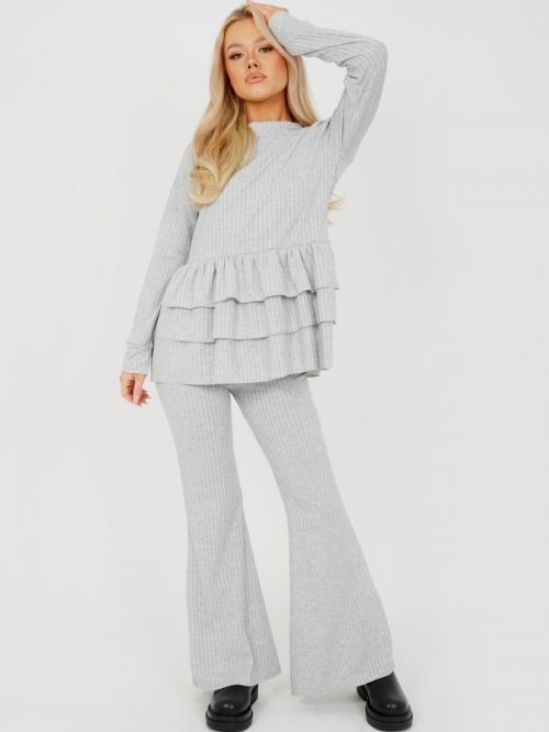Alina Triple Layered Frill Ribbed Co-ord In Grey