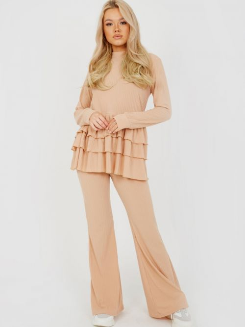 Alina Triple Layered Frill Ribbed Co-ord In Stone