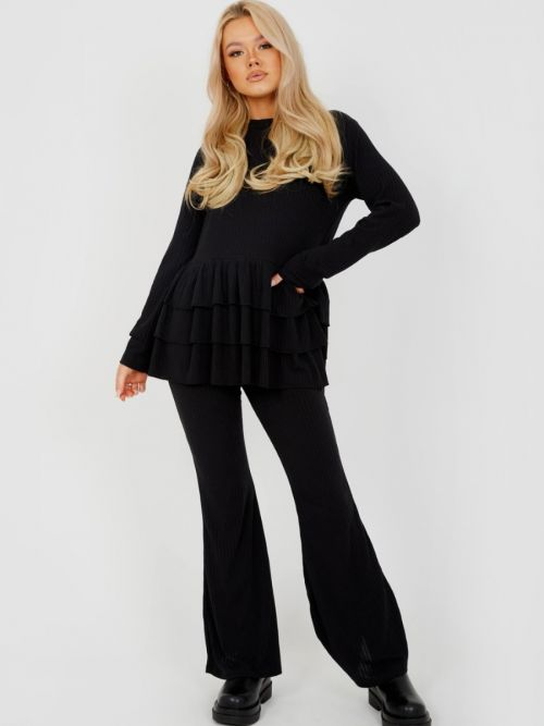 Alina Triple Layered Frill Ribbed Co-ord In Black
