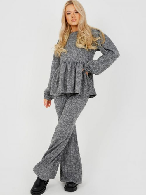 Sian Melange Knit Peplum Top & Trouser Co-ord In Grey