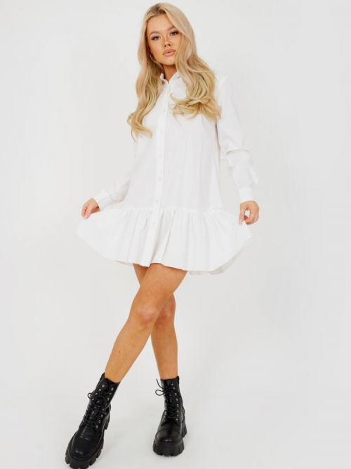Fabiola Frill Hem Buttoned Shirt Dress In White