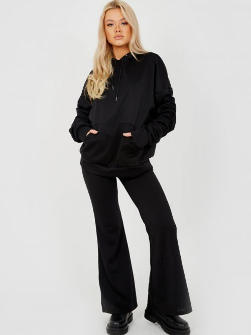 Susan Ruched Sleeve Hoodie & Flared Trouser Co-ord In Black