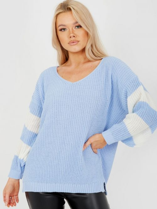 Joyce Contrast Stripe Sleeve Knitted Jumper In Blue