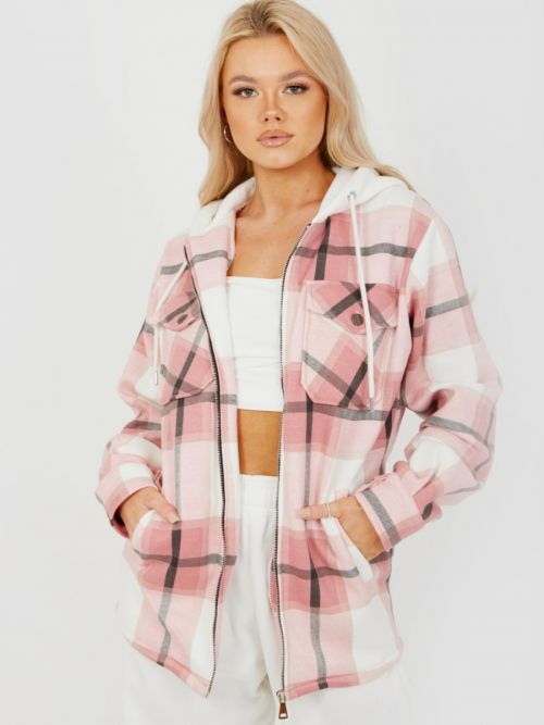 Lisa Thick Checked Shacket With Zip & Hood In Pink