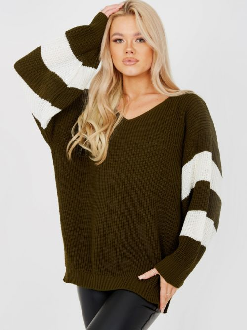 Joyce Contrast Stripe Sleeve Knitted Jumper In Khaki