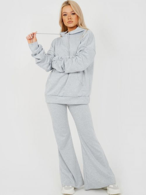 Susan Ruched Sleeve Hoodie & Flared Trouser Co-ord In Grey