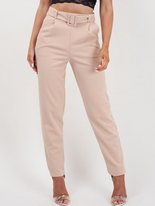 Deanna Belted Trousers In Stone