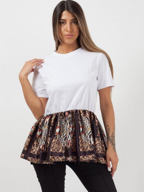 Vicky Baroque Print Frill Hem Top In White