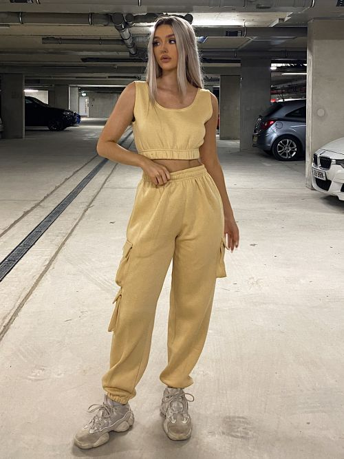 Nabeel Fleeced Crop Top & Cargo Jogger Co-ord In Stone