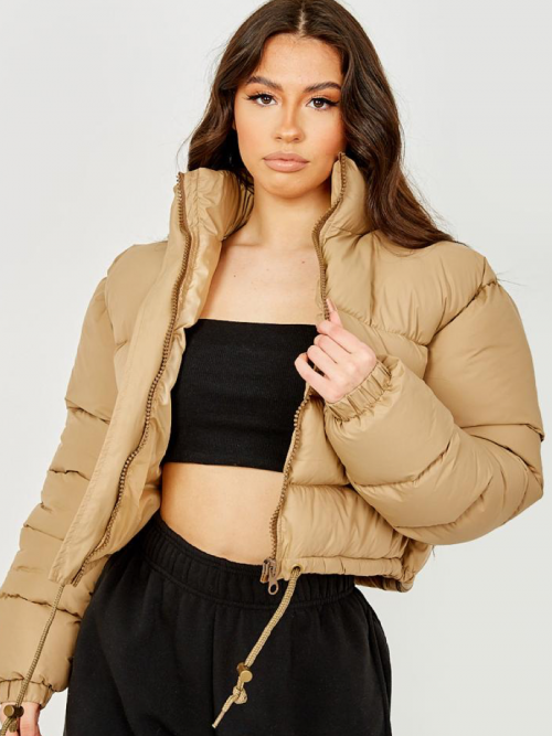 Dora Cropped Puffer Jacket In Stone
