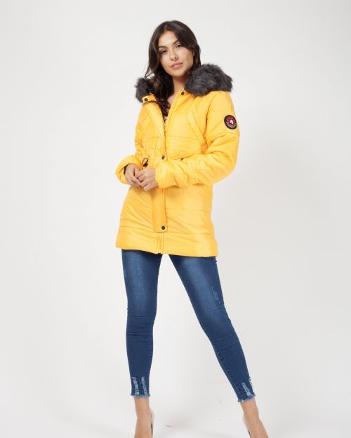 Milna Faux Fur Hood Padded Jacket In Mustard