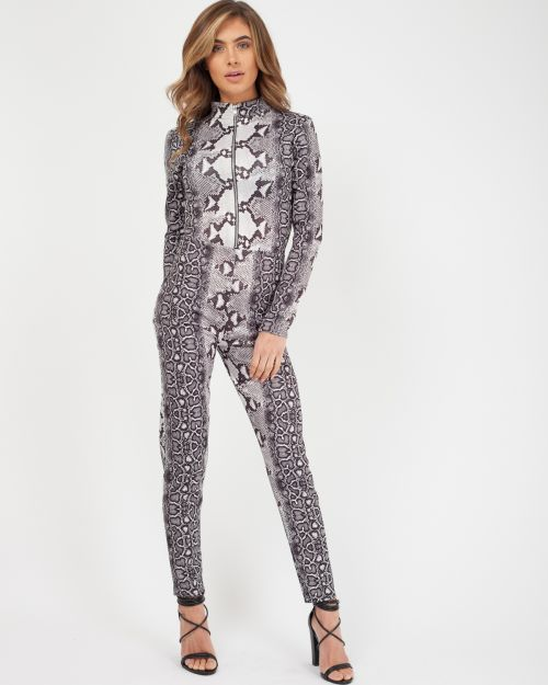 Erika Snake Print Zip Front Jumpsuit In Grey