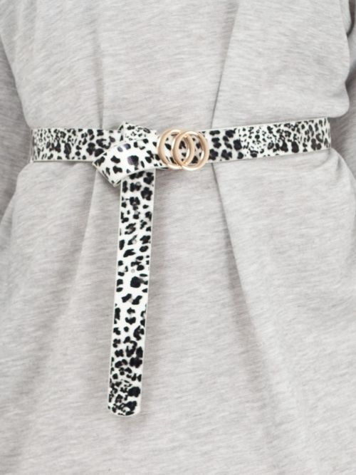 Karima Small Double Circle Buckle Belt In Leopard