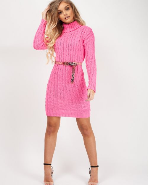 Connie Roll Neck Cable Knit Jumper Dress In Fuchsia