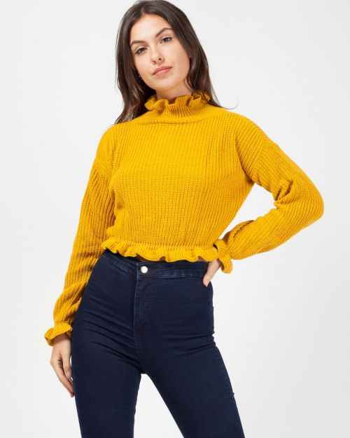 Maddy Ruffle Detail Cropped Knitted Jumper In Mustard