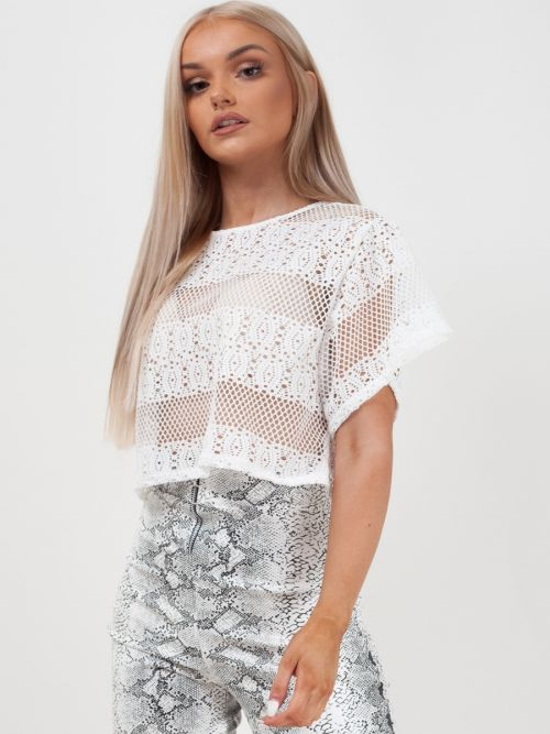 Emily Oversized Crochet Knit Crop Top In White