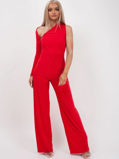 Kenzie One Sleeve Jumpsuit In Red