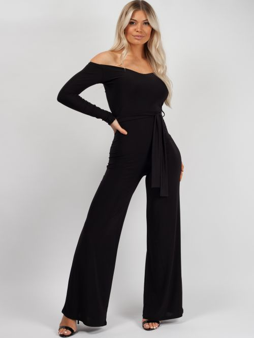 Ellice Slinky Bardot Sweetheart Tie Belted Jumpsuit In Black