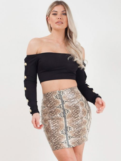Bria Zip Front Snake Print PU Skirt In Brown