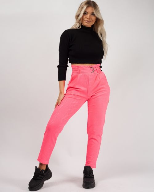 Esme Belted Crocodile Print Tapered Trousers Neon Pink