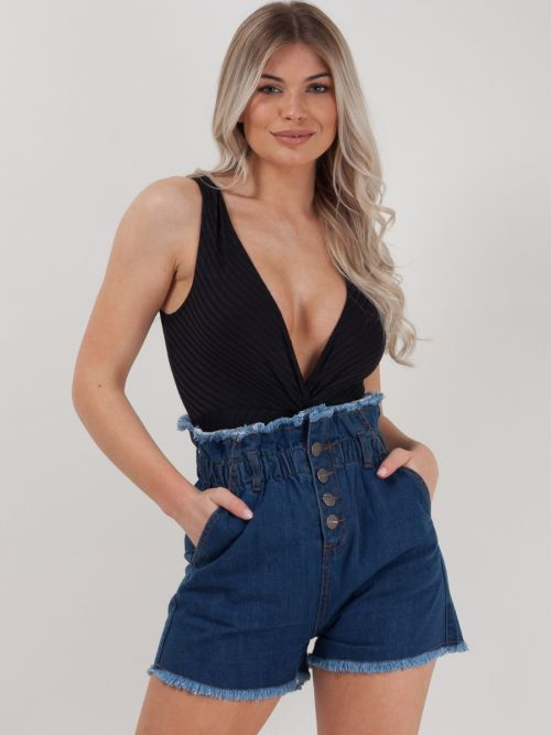 Vanessa Raw Finish High Waist Denim Hot Pants in Denim Blue