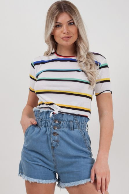 Zara Knot Front Striped Crop Top In White